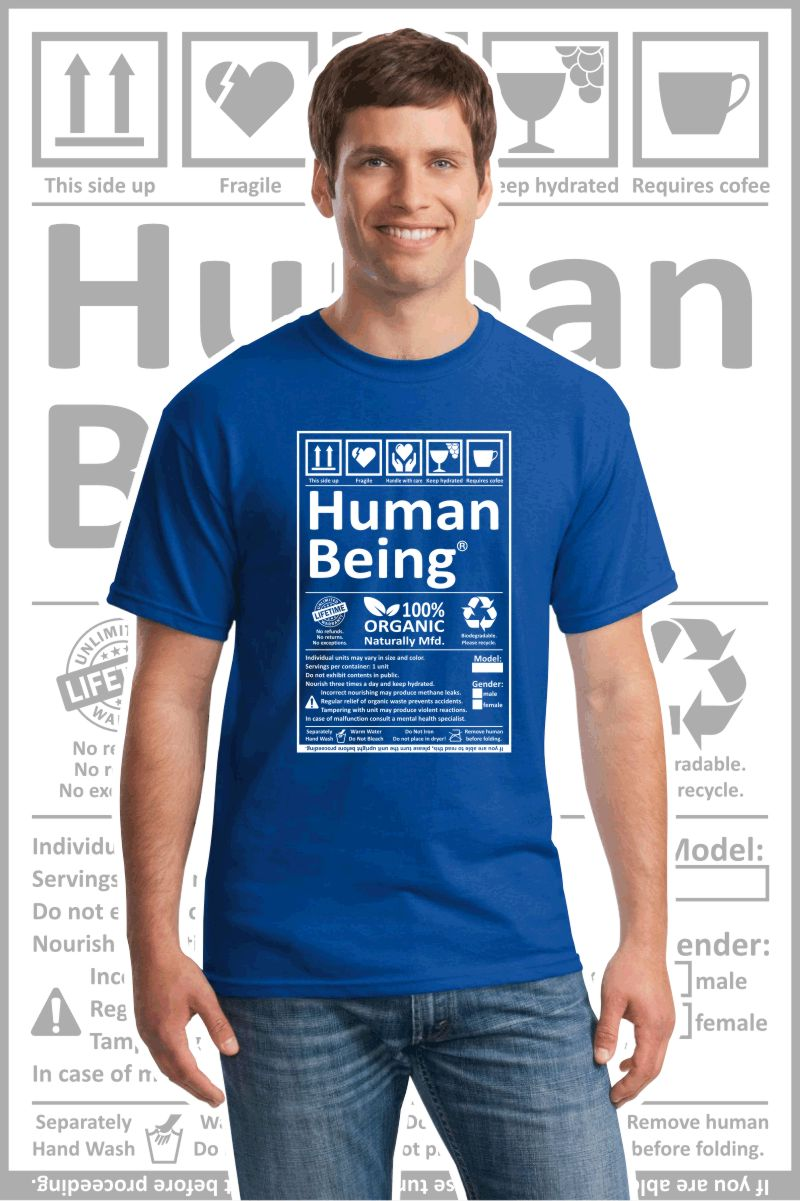 Male wearing a blue printed T Shirt with a black design of a Human Being label.