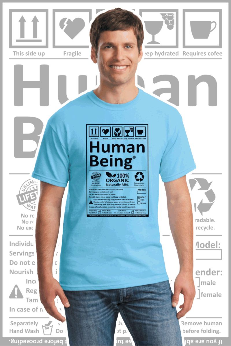 Male wearing a sky blue printed T Shirt with a black design of a Human Being label.