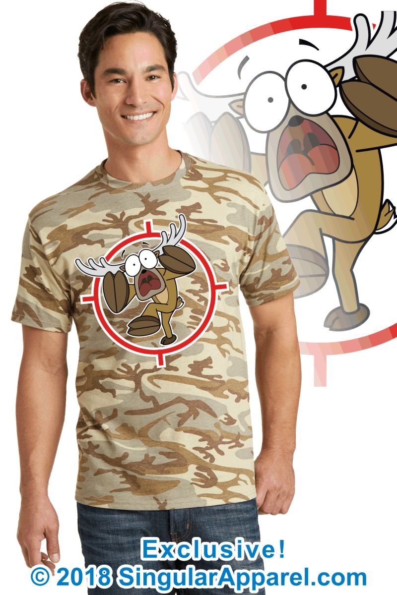 Printed Tee, desert camouflage with print of a cartoon of a full body panicked buck in the cross-hairs of a gun scope.
