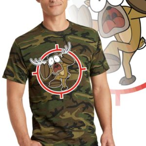 Printed Tee, military green camouflage with print of a cartoon of a full body panicked buck in the cross-hairs of a gun scope.