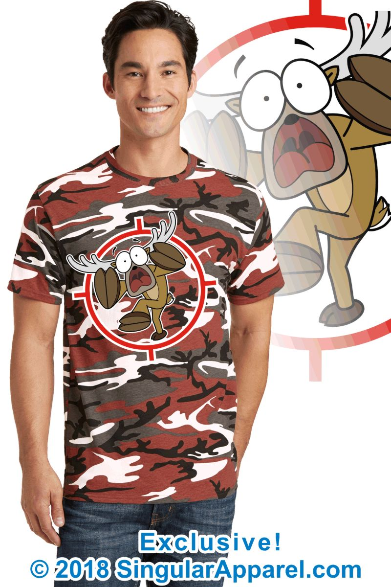 Printed Tee, red camouflage with print of a cartoon of a full body panicked buck in the cross-hairs of a gun scope.