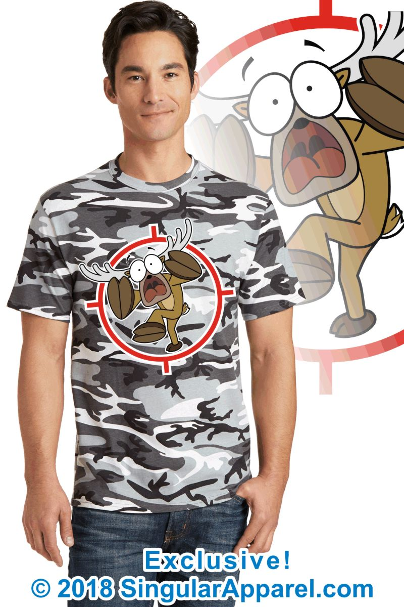 Printed Tee, winter camouflage with print of a cartoon of a full body panicked buck in the cross-hairs of a gun scope.