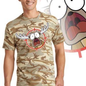 Printed Tee, Desert camouflage with print of a cartoon of a panicked buck in the cross-hairs of a gun scope.