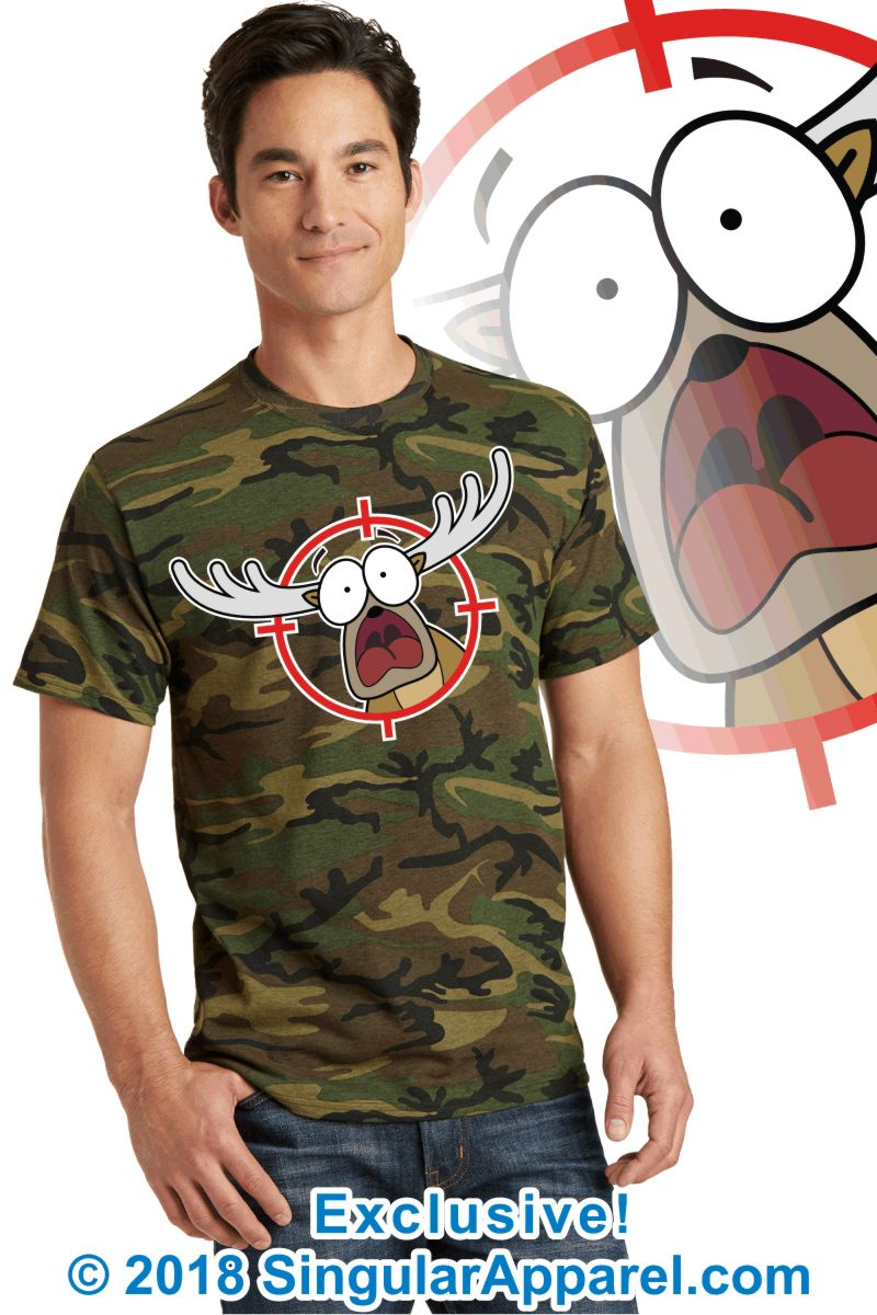 Printed Tee, military green camouflage with print of a cartoon of a panicked buck in the cross-hairs of a gun scope.