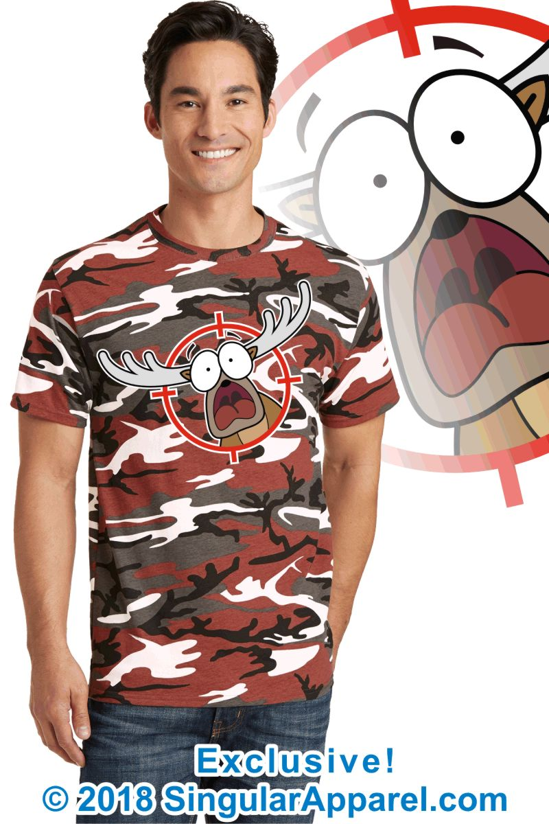 Printed Tee, red camouflage with print of a cartoon of a panicked buck in the cross-hairs of a gun scope.