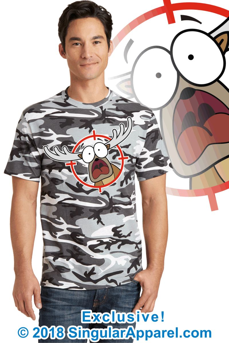 Printed Tee, winter camouflage with print of a cartoon of a panicked buck in the cross-hairs of a gun scope.