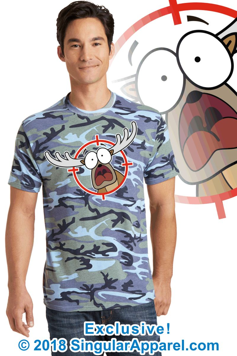 Printed Tee, woodlands blue camouflage with print of a cartoon of a panicked buck in the cross-hairs of a gun scope.