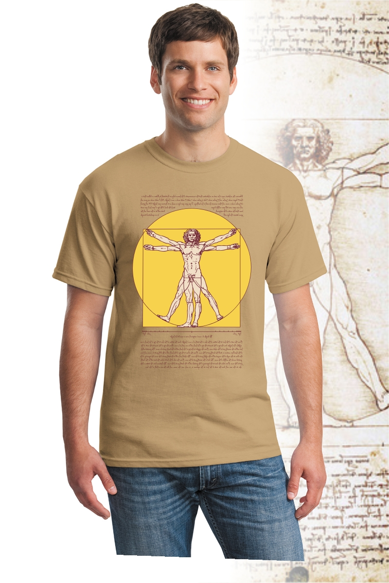 DaVinci T Shirt, old gold color with Vitruvian Man design.