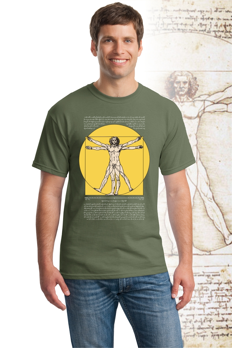 DaVinci T Shirt, military green color with Vitruvian Man design.