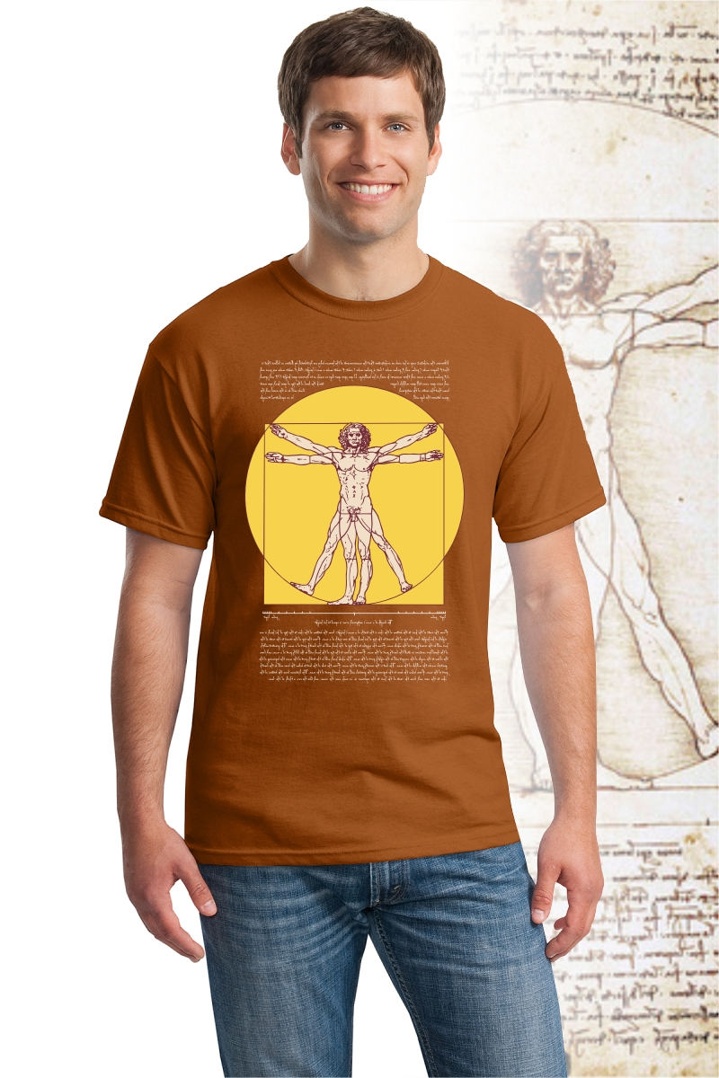 DaVinci T Shirt, Texas orange color with Vitruvian Man design.