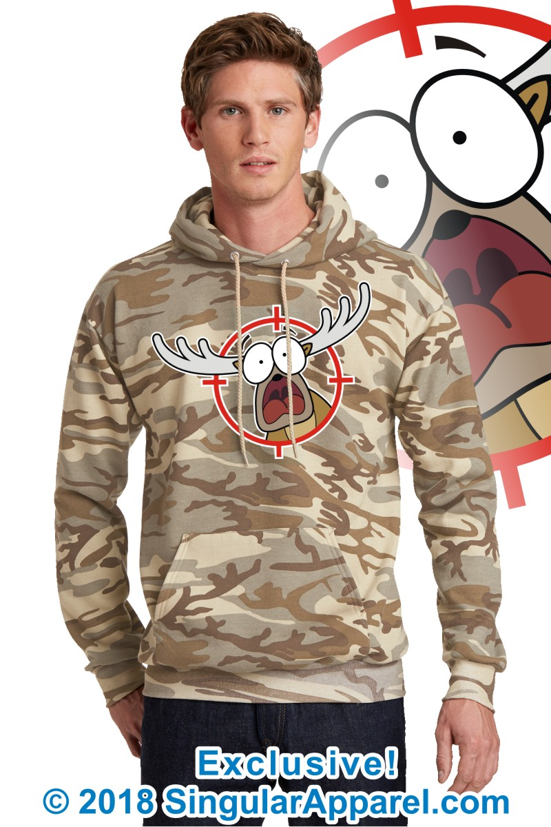 Printed Hoodie, Desert camouflage with print of a cartoon of a full body panicked buck in the crosshairs of a gun scope.