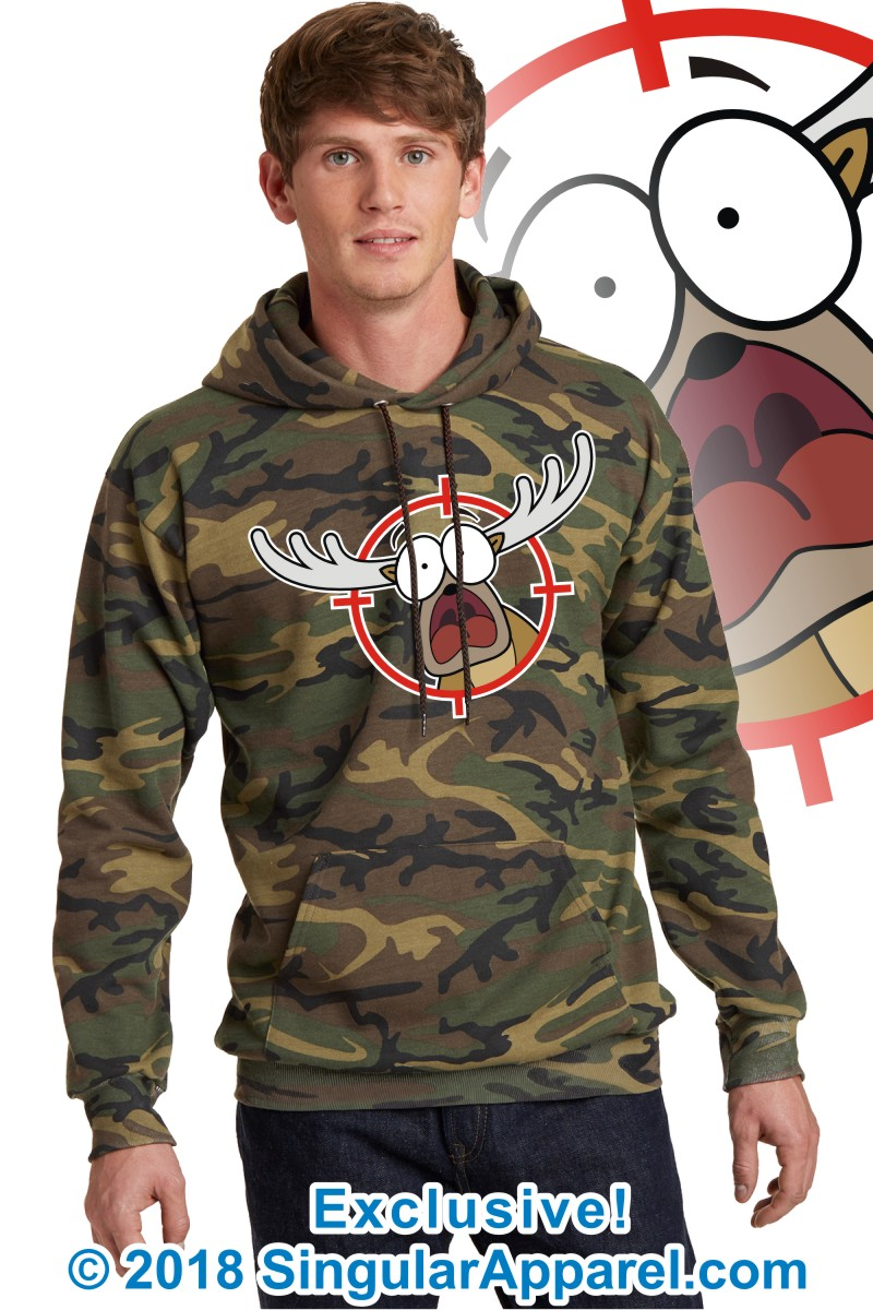 Printed Hoodie, Military camouflage with print of a cartoon of a full body panicked buck in the crosshairs of a gun scope.