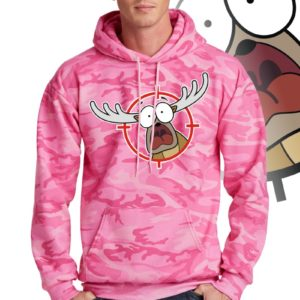 Printed Hoodie, Pink camouflage with print of a cartoon of a full body panicked buck in the crosshairs of a gun scope.