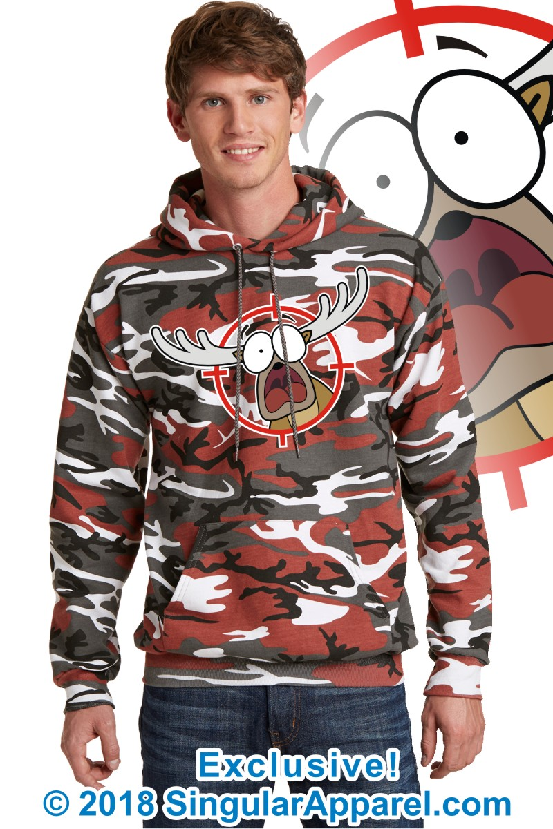 Printed Hoodie, Red camouflage with print of a cartoon of a full body panicked buck in the crosshairs of a gun scope.