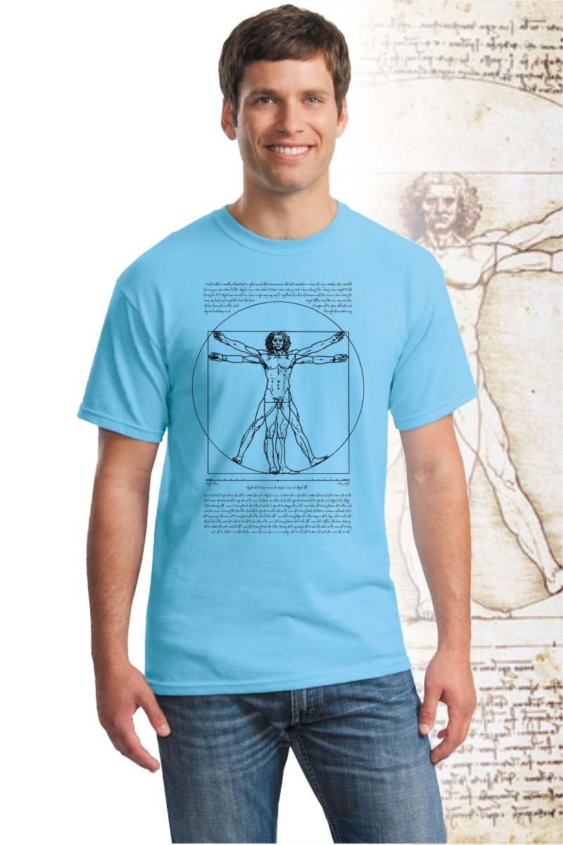 DaVinci T Shirt, 100% cotton with Vitruvian Man design.